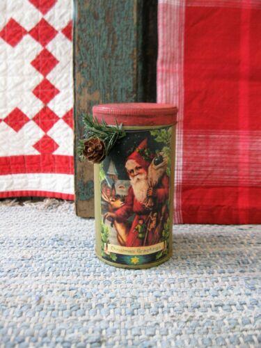 Early Antique Pantry Tin Red & Green Milk Paint Christmas Postcard Print Santa