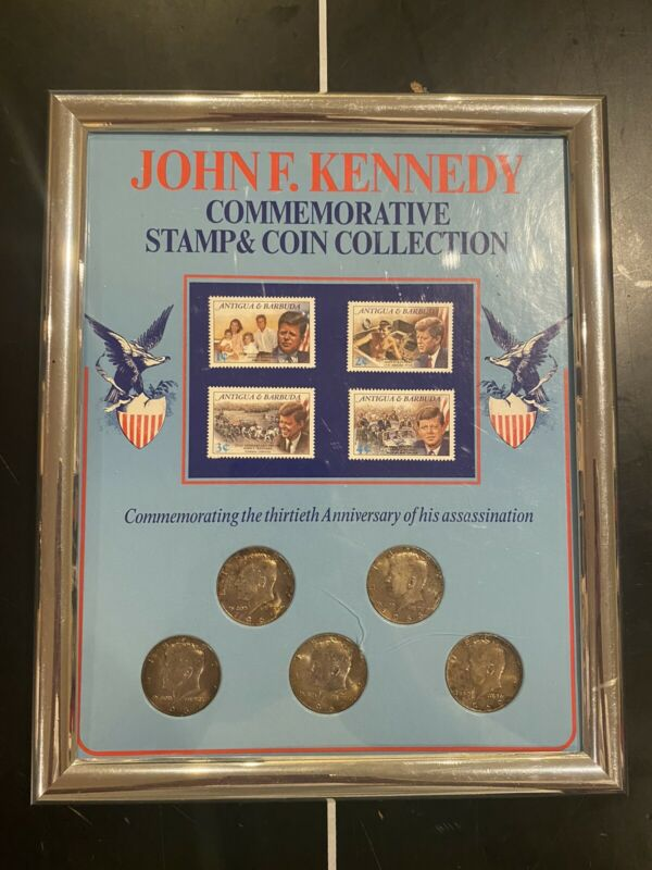John F kennedy commemorative stamp and coins collection 40 % silver half dollar