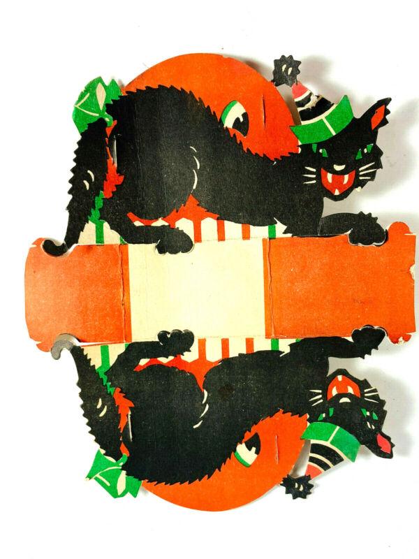 Unusual Gibson? Vintage Halloween black cat moon diecut napkin holder placecard
