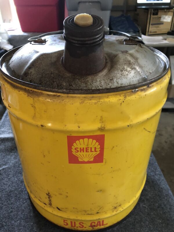 Vintage Shell Oil Gas Fuel 5 Gallon Can