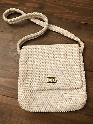 1950s Handbags, Purses, and Evening Bag Styles VINTAGE 1950'S CORDE BEADED BAG BY LUMURED~MADE IN USA~CREAM $22.00 AT vintagedancer.com