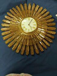 Vintage Retro Decco Syroco Starburst Sunburst Wall Clock