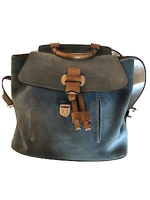 "Genuine Michael Kors Blue Suede/Buffalo Leather Backpack Rucksac11.5x12"""