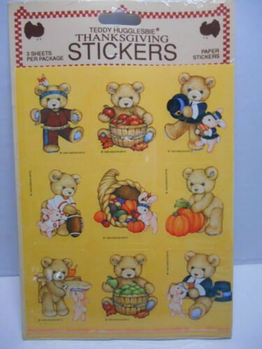 VTG 1990 TEDDY HUGGLESBIE Gibson Greetings THANKSGIVING Stickers SEALED 3 Sheets