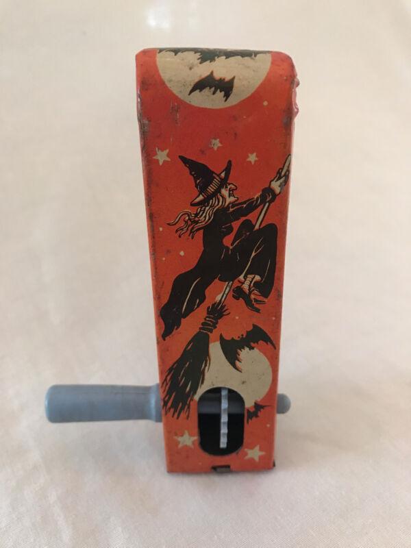 Vintage Halloween US METAL TOY Tin Litho Witch Rachet Noisemaker