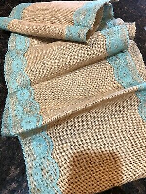 Table Runner With Lights (Burlap Table Runner With Aqua Blue/ Light Blue)