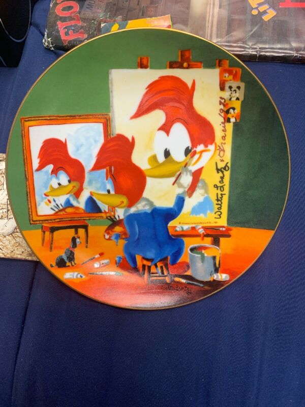 Woody Woodpecker Signed By Walter Lantz & Gracie Lantz Voice 1983 Plate 1981