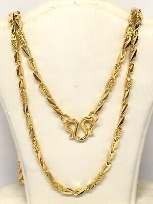 24k Yellow Gold Flexible Diamond Cut Chain Link Necklace 20 Inches 10.6g