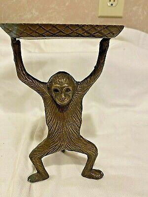 Vintage Monkey Business Brass Bronze Card Holder Soap Dish Desk Trinket Tray