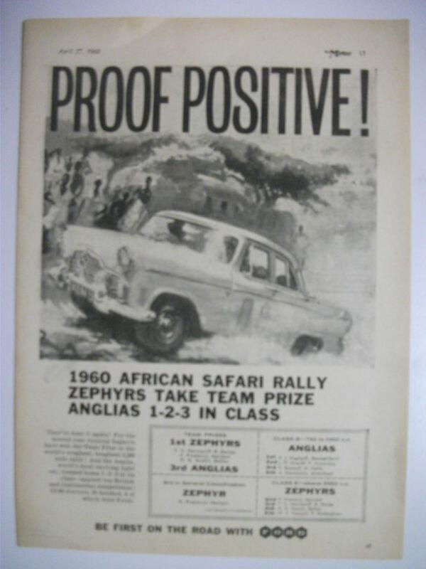 1960 FORD ZEPHYR TAKES AFRICAN SAFARI TEAM PRIZE BRITISH MAGAZINE ADVERTISEMENT