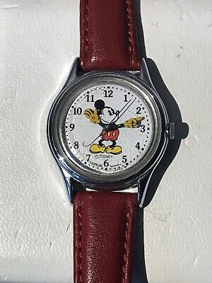 Vintage Disney Wrist Watch Mickey Mouse Red Band Water Resist Stainless Untested