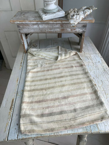 Vintage Grain Sack multicolor stripes handwoven European soft hemp PATCHED
