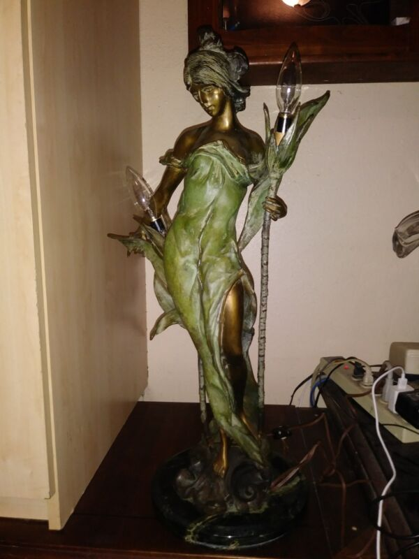 Vintage P Rocha Limited Edition 11/100 Bronze Lady Lamp Statue