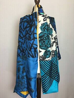 Pierre-Louis Mascia Double Sided Blue Scarf Floral Ornament Numbers Strip