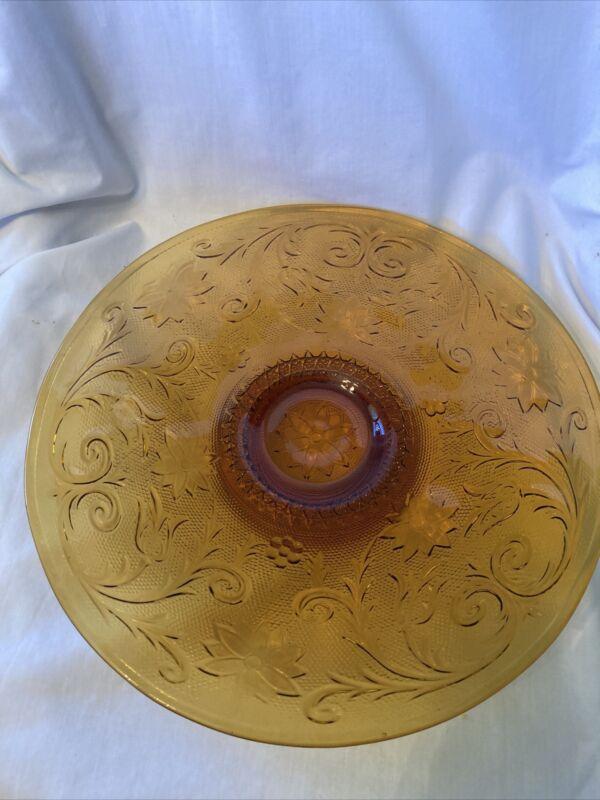 Vintage Indiana Tiara Sandwich Glass Amber/Gold 13 inch Cake/Platter
