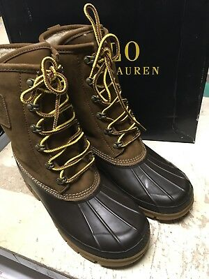 DS MENS Polo Ralph Lauren Romford Boot SHEARLING LINED SNUFF NATURAL SZ 8