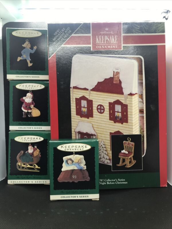 HALLMARK MINIATURE THE NIGHT BEFORE CHRISTMAS DISPLAY With Ornaments complete