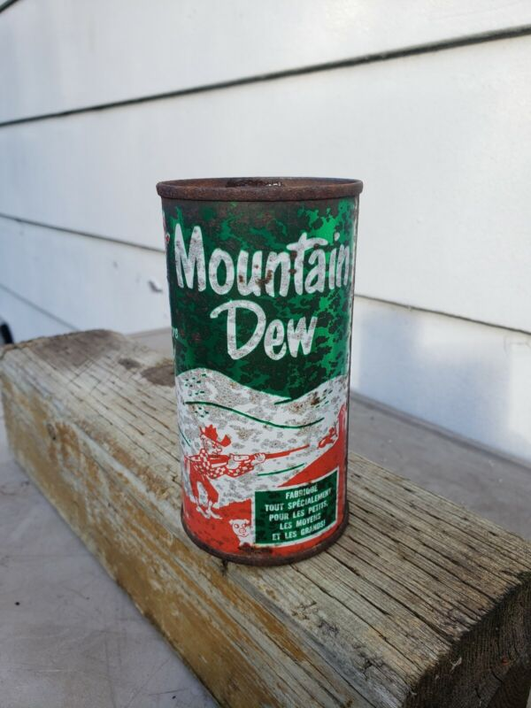 RAREVINTAGE MOUNTAIN DEW RED HILLBILLY SODA CAN 10OZ STEEL ENGLISH/FRENCH