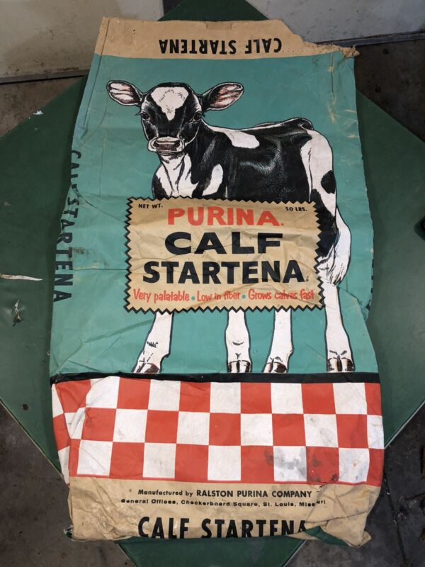 RARE VINTAGE PURINA CALF STARTENA FEED BAG SACK BEAUTIFUL ART! 50 lb St Louis MO