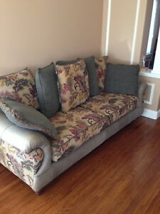 SOFA AND LOVESEAT WITH FLORAL PRINT AND SOLID GREEN SINGLE CHAIR