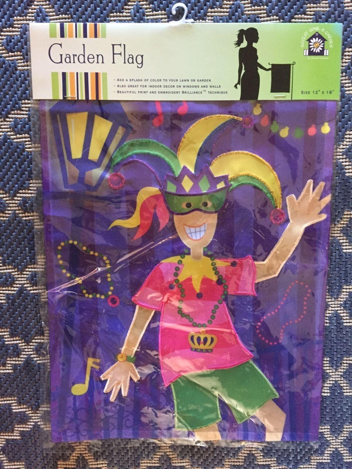 "Premier Kites Marci's Gras Garden Flag Embroidered 12""x18"""