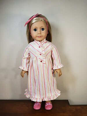 American Girl Doll Clothes 18 Inches Kit's Stripe Nightie Gown Outfit