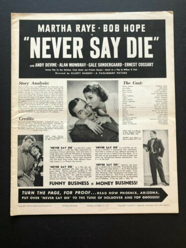 "Never Say Die Original Movie Pressbook (1939) - 24 Pages -12"" x 15""  EX+"
