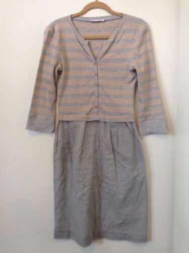 FABIANA FILIPPI Grey Sandstone Beige Striped Dress w Pockets & Buttons Size S