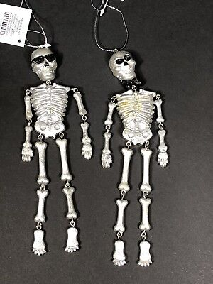 Halloween Decorations Inside Use Skeleton Ornaments 2 Piece Set Lightweight NEW