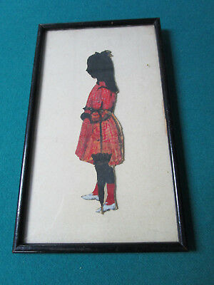 (ANTIQUE SILOUETTE DATED 1914 GIRL WITH UMBRELLA )