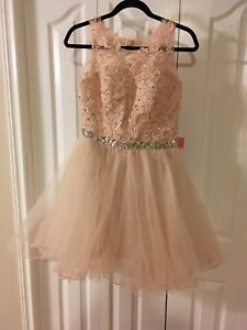 Size 6 champagne colored prom dress, never worn