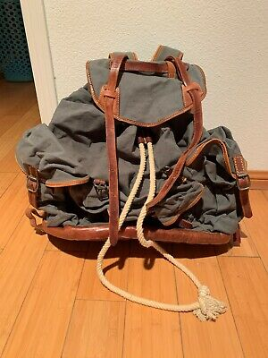 Vintage Large Ezra Fitch by Abercrombie Canvas & Leather Backpack/Rucksack