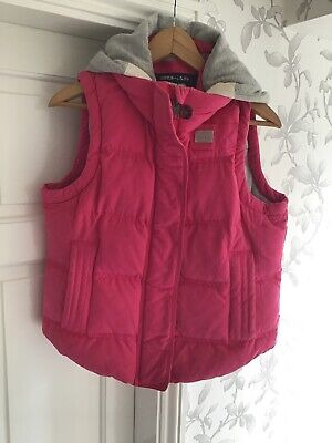 Superdry Academy Gilet Pink Padded with Grey Detachable Hood Size Medium