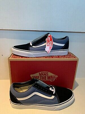 Vans Off The Wall Mens Shoes NAVY BLUE & WHITE SIZE 10.5 Old Skool