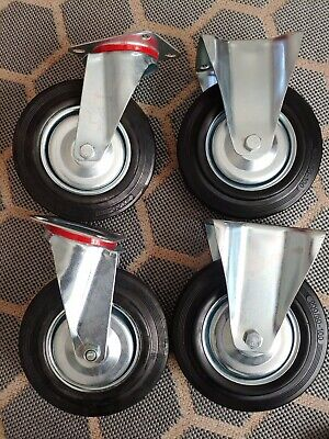 Set Of 4 Heavy Duty Rigid Plate Casters 20050-100 Rubber Tires 8 X 2