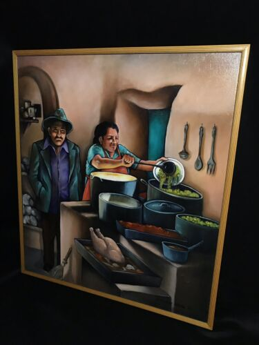 Large Oil On Canvas Painting STREET FOOD Lorraine Klotz - $399.95