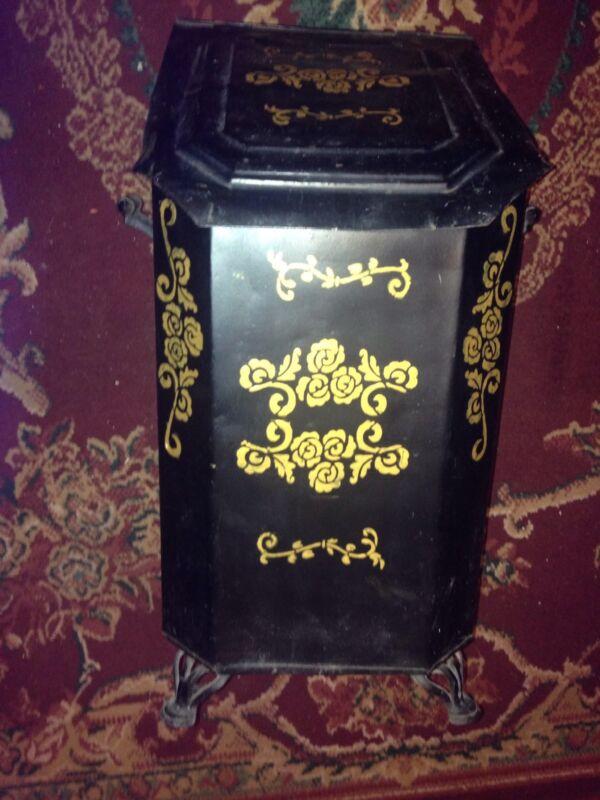 Antique Victorian Tin Coal Bin Scuttle With Insert
