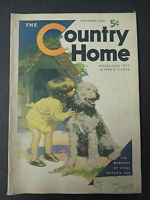 Sept 1930 COUNTRY HOME; Goshen NY Harness Racing, Dog Cover Art, Garden Bulbs +