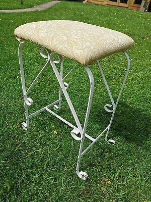 Mid century dressing table stool wrought iron ornate with crimplene fabric