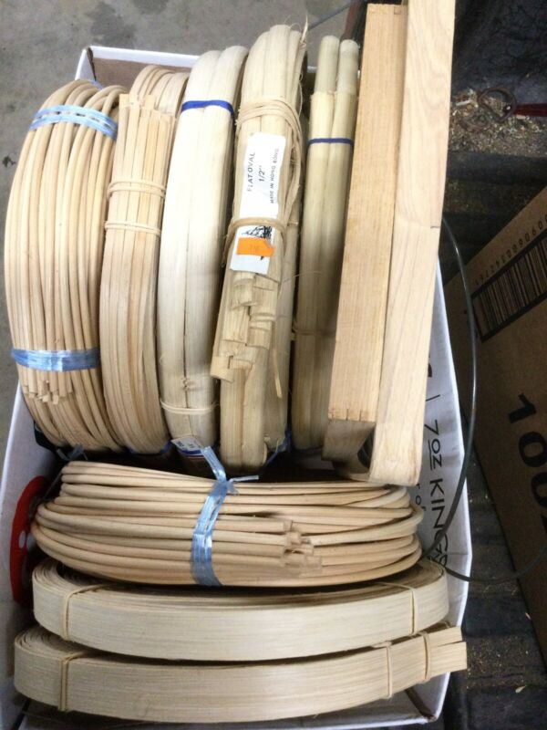 Basket making reed and handles mixed lot- 8 full coils