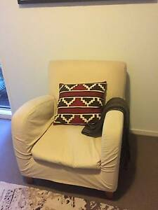 Comfortable chair with removeable cream canvas cover Elderslie Camden Area Preview