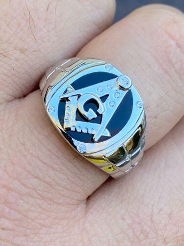 Mens Real Solid 925 Sterling Silver Ring FreeMason Masonic Letter G Black Onyx