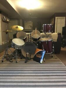 Sonor drum kit, with Solar hi-hats and crash cymbal