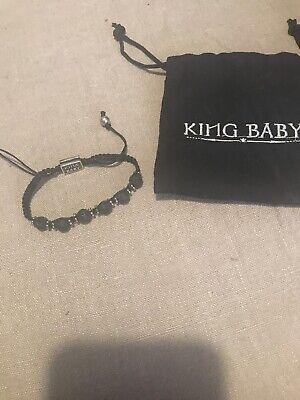 King Baby Macrame Sterling Silver & Black Rock 925 Bangle For Rockers!
