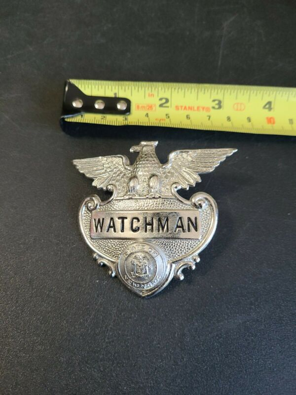 1900s New York State Watchman Obsolete Hat (?) Badge