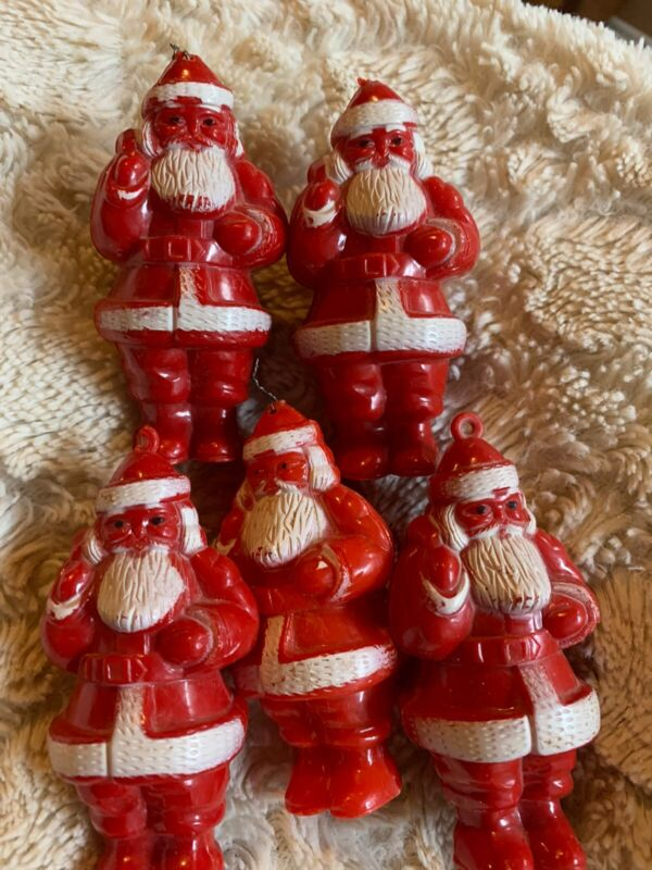 5 VINTAGE PLASTIC SANTA Ornaments 1950's