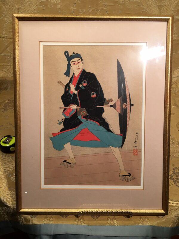 """Natori Shunsen """"Ichimura uzaemon As Sukeromu"""" Japanese Original Woodblock Print"""