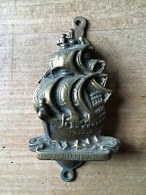 Vintage Brass Door Knocker Sailboat Ship Nautical Small Antique