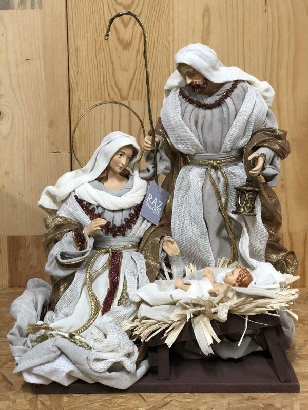 "RAZ Imports 15.25"" Holy Family Winter White Cream Bronze Nativity Christmas NEW!"