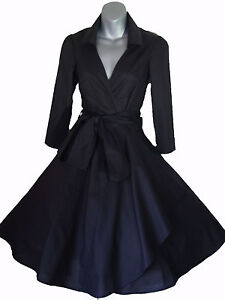 50'S STYLE ROCKABILLY PINUP SWING WRAP EVENING PARTY DRESS SIZES 8 - 24